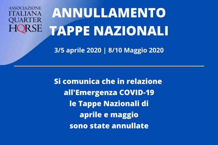 Annullate le Tappe Nazionali di Aprile e Maggio 2020
